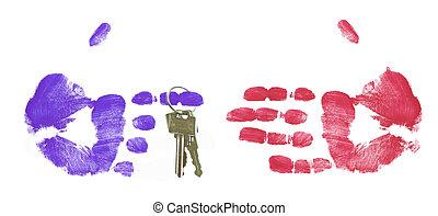 making the deal - pointing finger handing over set of keys -...