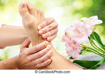 Relaxing reflexology massage.