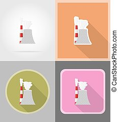 nuclear reactor flat icons vector illustration isolated on...