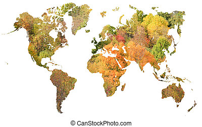 natural map of earth - red and orange graphic with trees and...