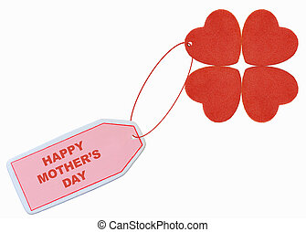 happy mother\'s day with red hearts tag