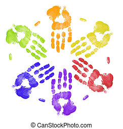 bright colored hand prints working together