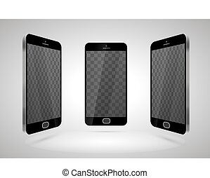 Three realistic glossy smartphones, mockup with transparent...