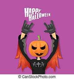 Rock n roll Happy halloween vector greeting card - Happy...