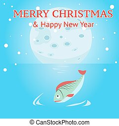 Moon descends to the water edge. Winter snows. Merry...
