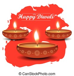Diwali poster on red watercolor