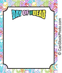 Frame for Day of the Dead. Multicolored skeletons. Color...