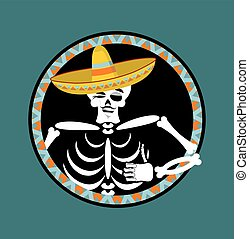 skeletons and sombrero. Day of the Dead. Multi-colored skull in Mexican hat. Emblem for National Holiday in Mexico. Illustration Ethnic feast