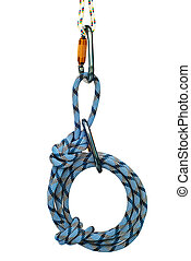 climbing equipment - carabiners and blue rope - Isolated new...