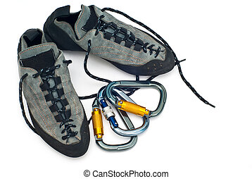 carabiners and climbing shoes - climbind equipment -...