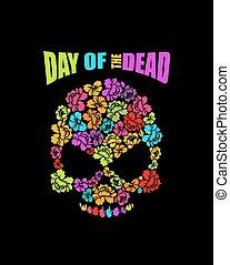 Skull of flowers for Day of the Dead. Skeleton head for...