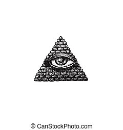vector hand drawn providence eye - vector black work tattoo...