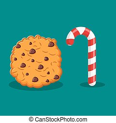 Peppermint Christmas candy and cookies. Food for new year. Sweet celebratory delicacy. Mint stick lollipop and cookie. holiday food sign