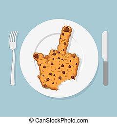 MORDU, fourchette, biscuits, vilain, plaque, cutlery:, fuck,...
