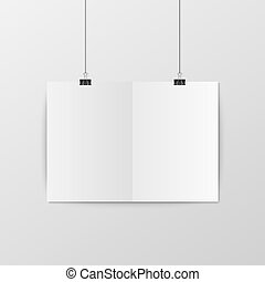 Sheet of folded paper hangs on the clamps. Vector EPS10...