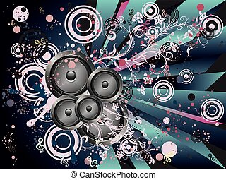 Grunge Loud Speaker - Decorative grunge poster with audio...