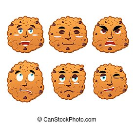 Cookies emotions set. Oatmeal cookie evil and good. Calm and...