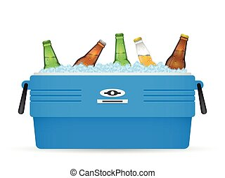 Ice cooler or beer in box vector on white - Beer ice cooler...
