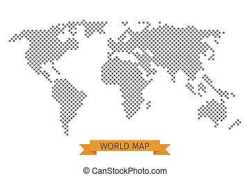 Vector world map cross dot Global map for cartography,...
