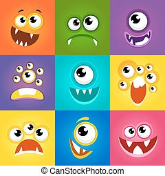 Monster expressions. Funny cartoon faces vector - Monster...
