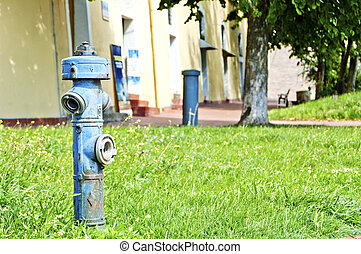 Hydrant - Blue hydrant on street