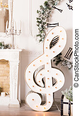 Christmas music concept - treble clef - Christmas music...