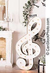 Christmas music concept - treble clef - Christmas music...