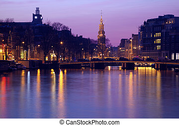Pink sunset in Amsterdam, Netherlands