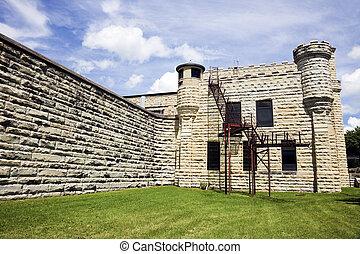 Walls of historic Jail in Joliet, Illinois - suburb of...