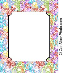 Frame for Day of the Dead. Multicolored skeletons. Color skull. National Holiday in Mexico