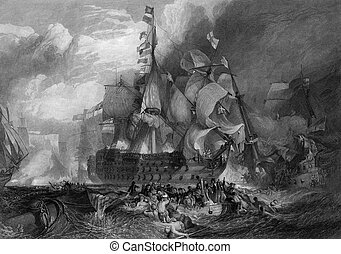 Battle of Trafalgar - Black and white engraving of the...