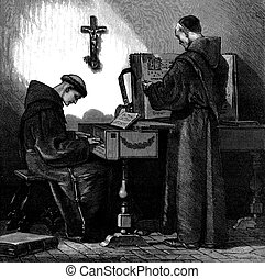 Franciscan monk playing harpsichord - Engraving of two...