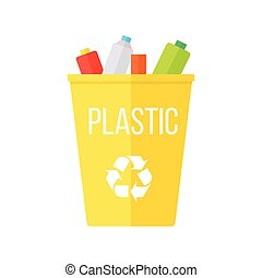 Yellow Recycle Garbage Bin with Plastic