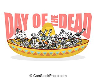 Day of the Dead skeletons and sombrero. Multi-colored skull...