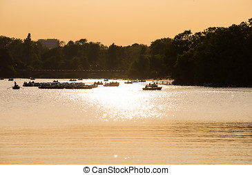 Hyde park sunset - Sunset on the Serpentine, the lake at the...