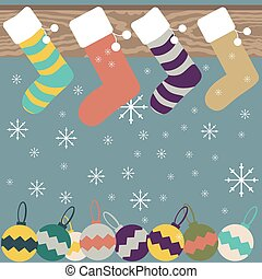 Christmas stockings hanging on mantel festive background -...