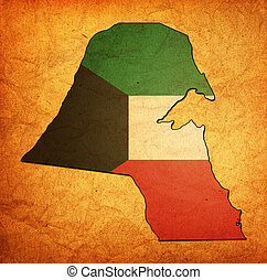 kuwait territory with flag - map with flag of kuwait with...