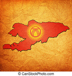 kyrgyzstan territory with flag - map with flag of kyrgyzstan...