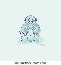 Emoji character cartoon Hippopotamus embarrassed - Vector...