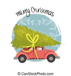 Merry christmas retro car illustration with tree