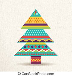 Christmas tree illustration design in fun colors