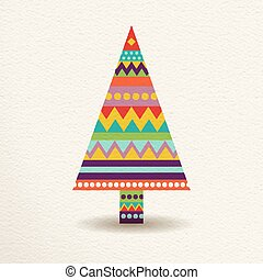 Christmas tree in colorful geometric art style