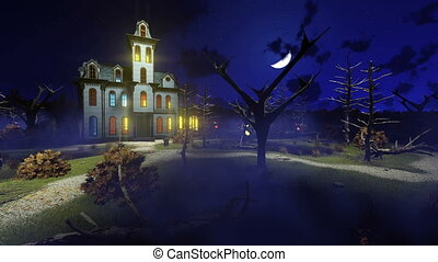 Haunted mansion at misty night 4K - Scary haunted mansion...