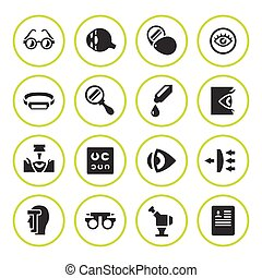 Set round icons of ophthalmology and optometry isolated on...