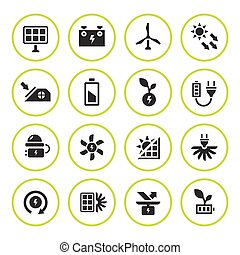 Set round icons of alternative energy sources