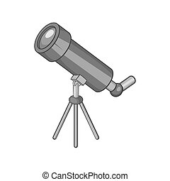 Telescope icon, black monochrome style - icon in black...