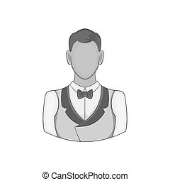 Casino croupier icon, black monochrome style - icon in black...