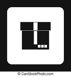 Cardboard box icon, simple style - icon in simple style on a...