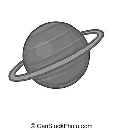 Sarurn planet icon, black monochrome style - icon in black...