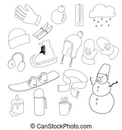 Winter icons set, outline style - Winter icons set in...